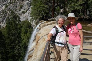 Annie and Mimi on ledge of Vernal Falls